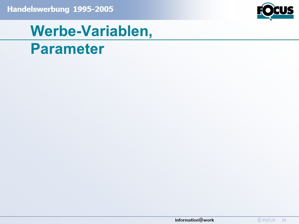 Werbe-Variablen, Parameter