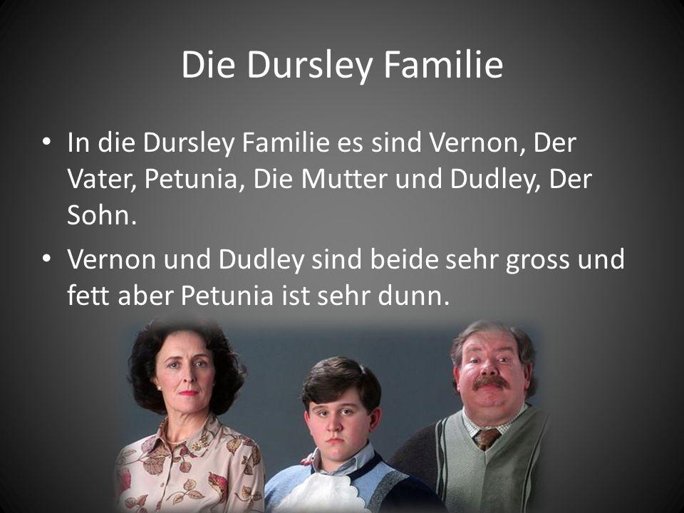 Die Dursley Familie In die Dursley Familie es sind Vernon, Der Vater, Petunia, Die Mutter und Dudley, Der Sohn.