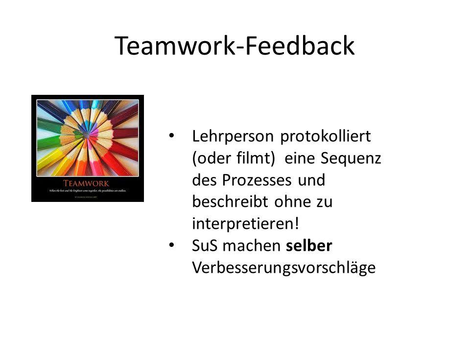 Teamwork-Feedback Lehrperson protokolliert (oder filmt) eine Sequenz des Prozesses und beschreibt ohne zu interpretieren!