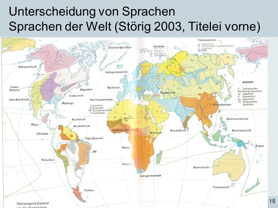 Unterscheidung von Sprachen Sprachen der Welt (Störig 2003, Titelei vorne)