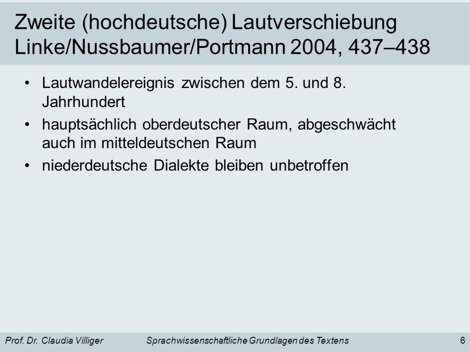 Zweite (hochdeutsche) Lautverschiebung Linke/Nussbaumer/Portmann 2004, 437–438