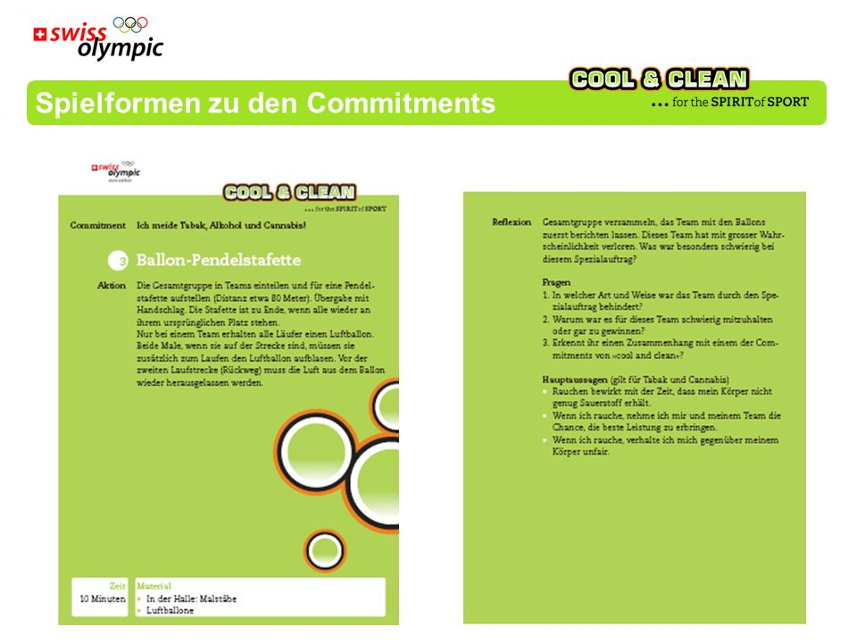 Spielformen zu den Commitments