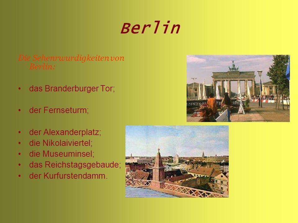 Berlin Die Sehenrwurdigkeiten von Berlin: das Branderburger Tor;