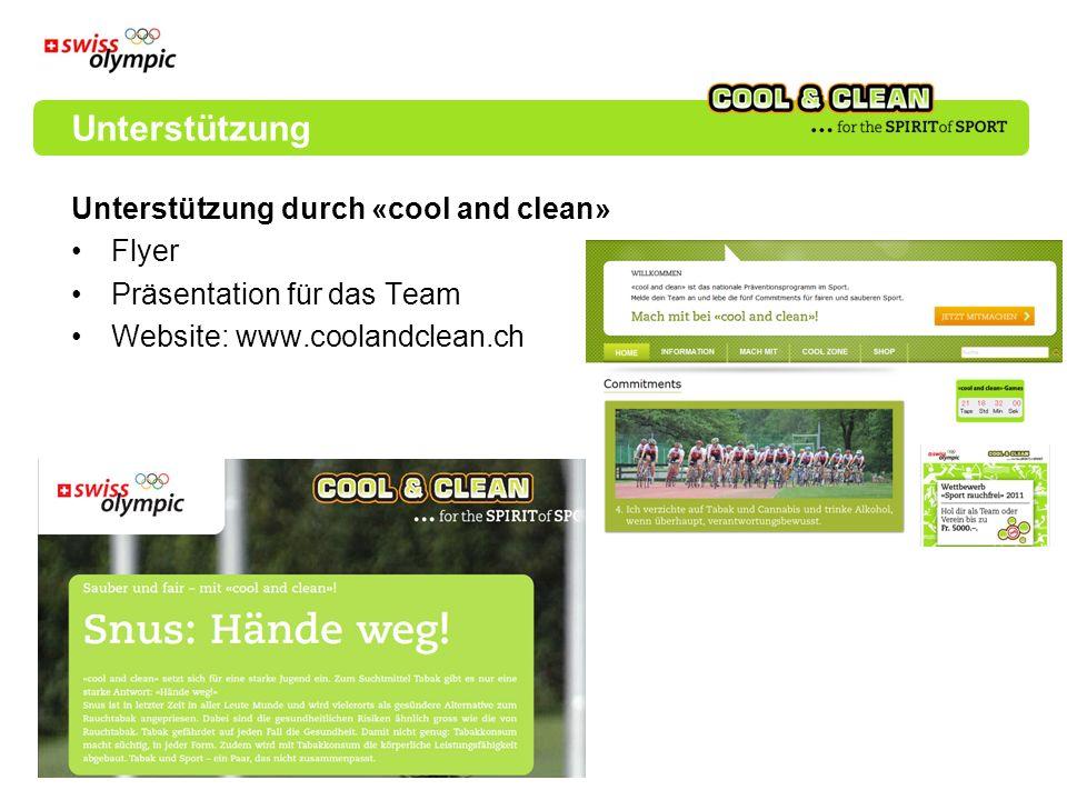 Unterstützung Unterstützung durch «cool and clean» Flyer