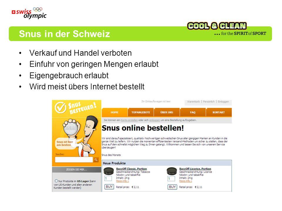 Snus in der Schweiz Verkauf und Handel verboten