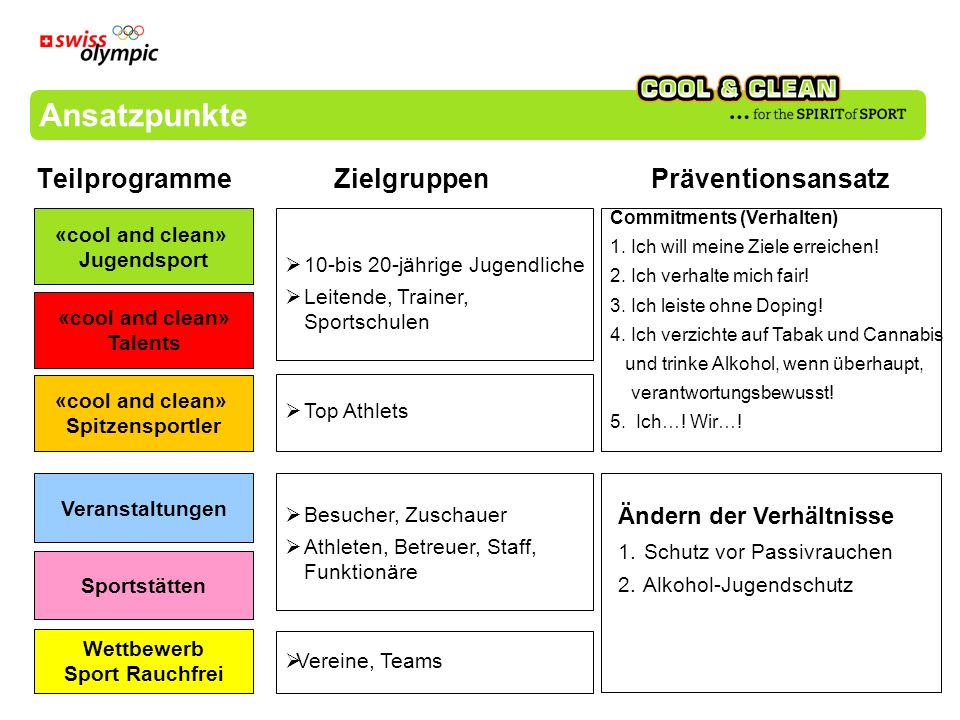 Ansatzpunkte Teilprogramme Zielgruppen Präventionsansatz