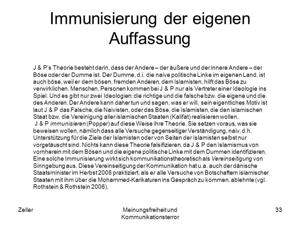 Immunisierung der eigenen Auffassung