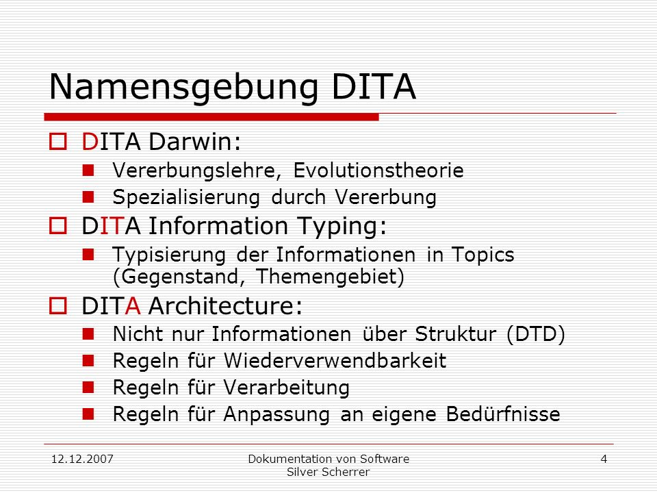 Dokumentation von Software Silver Scherrer