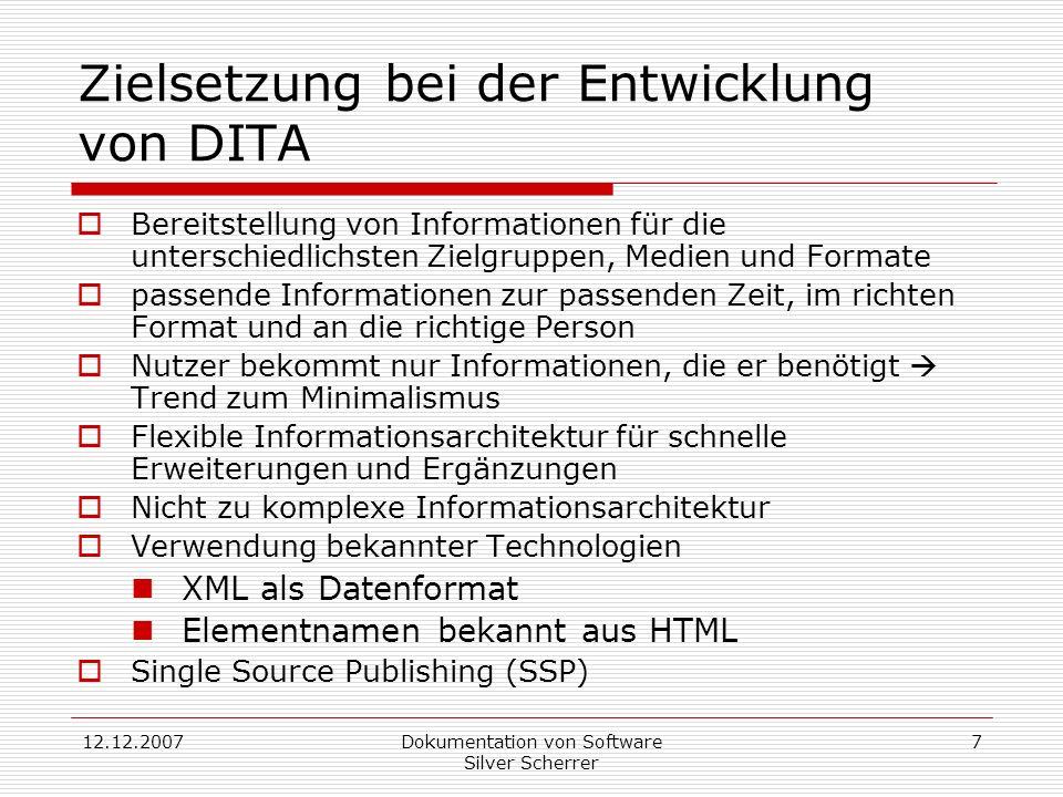 Zielsetzung bei der Entwicklung von DITA