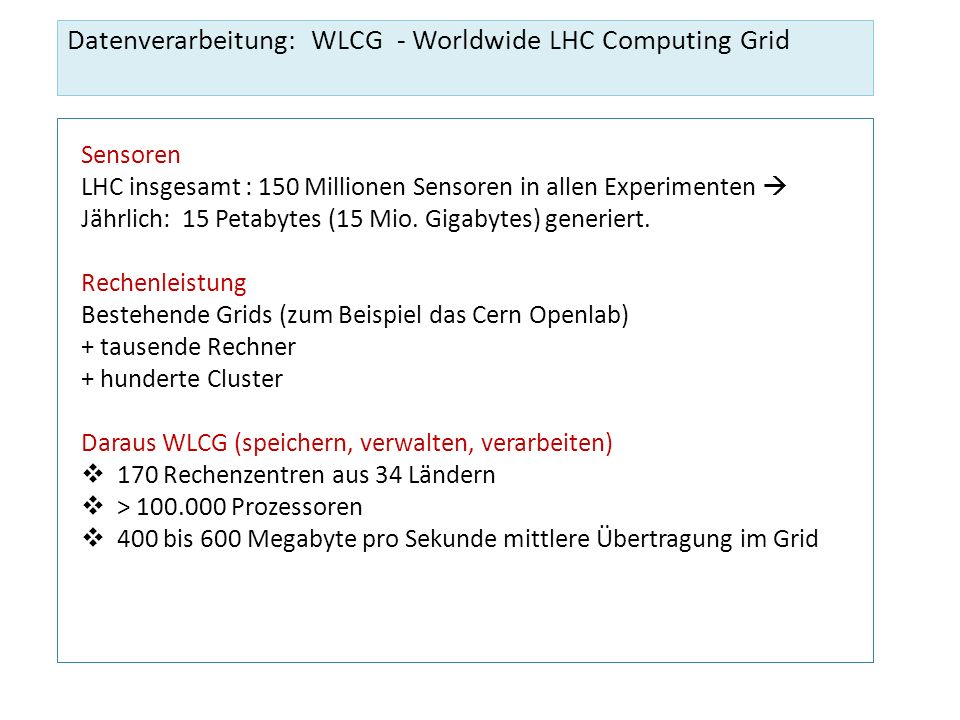 Datenverarbeitung: WLCG - Worldwide LHC Computing Grid