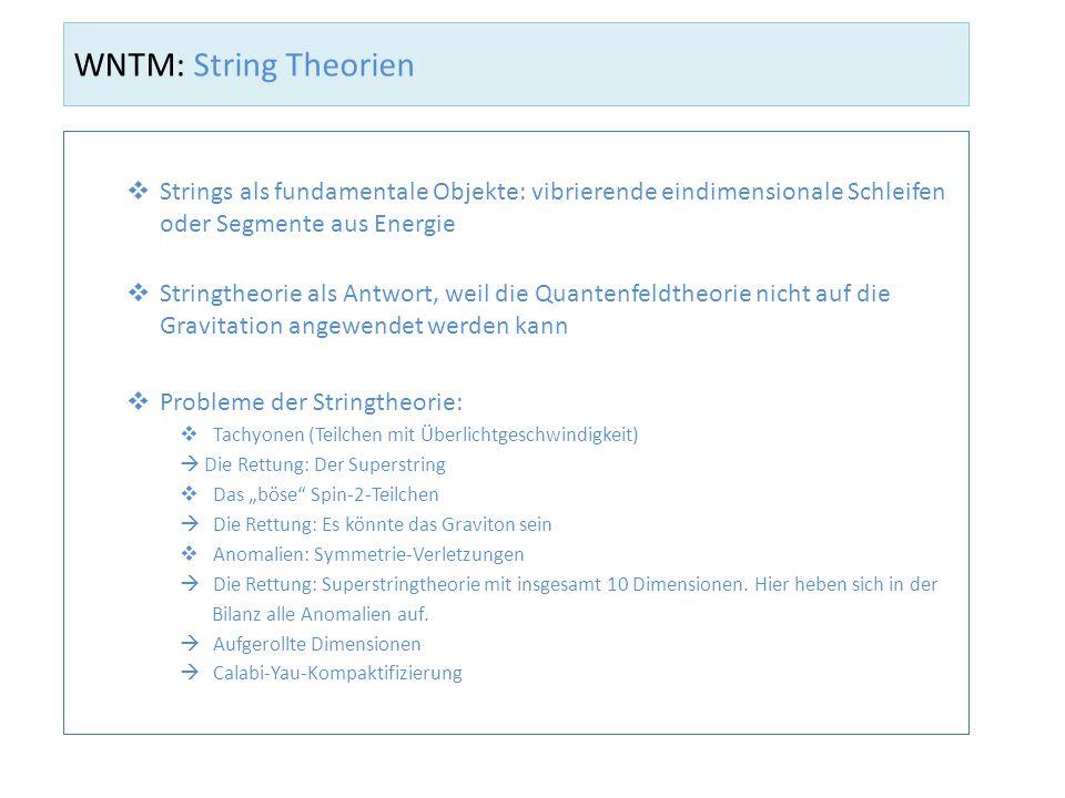 WNTM: String Theorien Strings als fundamentale Objekte: vibrierende eindimensionale Schleifen oder Segmente aus Energie.