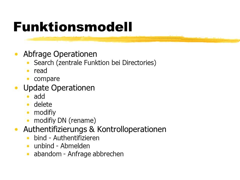 Funktionsmodell Abfrage Operationen Update Operationen