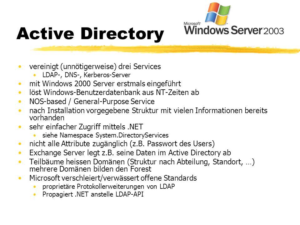 Active Directory vereinigt (unnötigerweise) drei Services