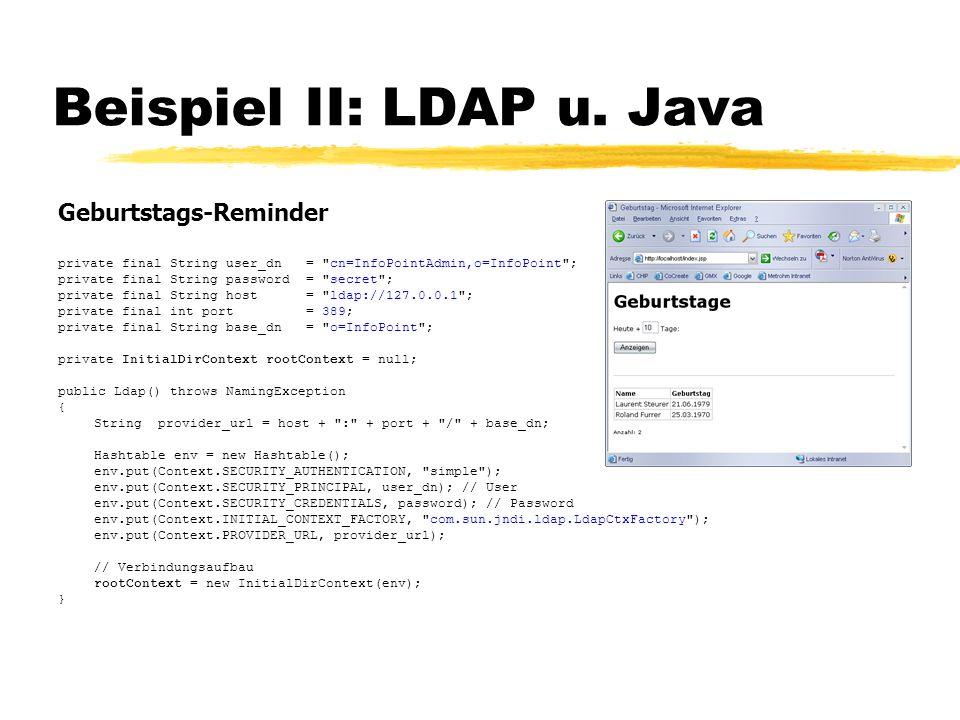 Beispiel II: LDAP u. Java