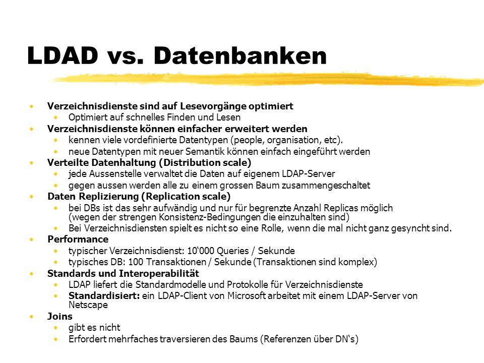 LDAD vs. Datenbanken Verzeichnisdienste sind auf Lesevorgänge optimiert. Optimiert auf schnelles Finden und Lesen.