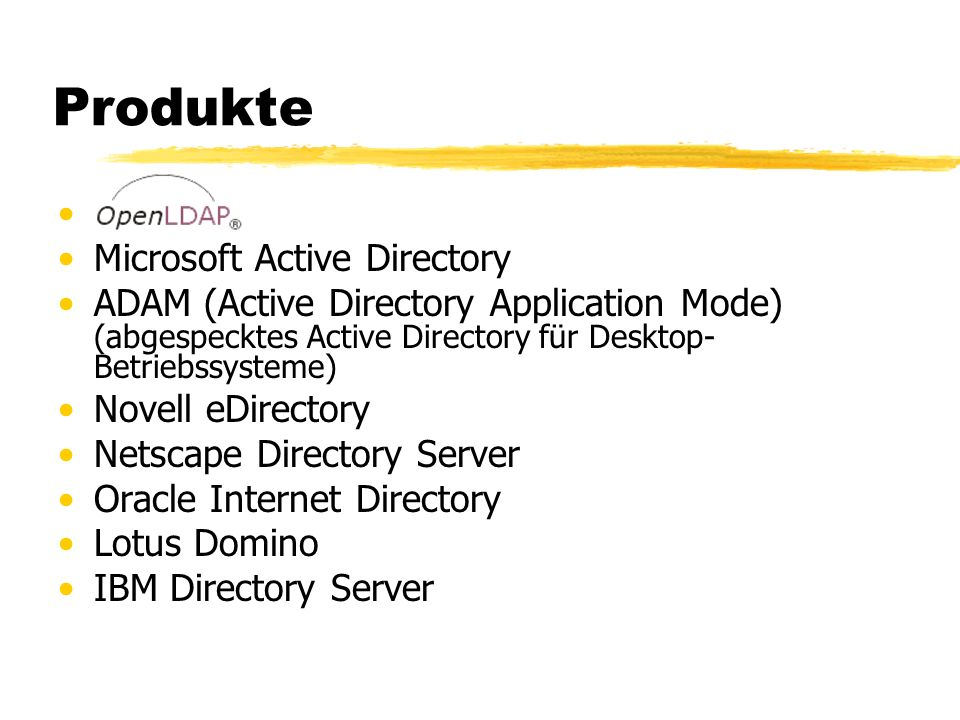 Produkte Microsoft Active Directory