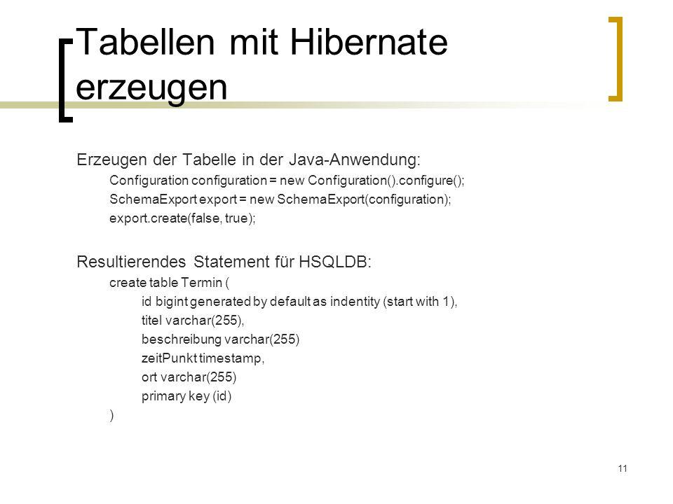Tabellen mit Hibernate erzeugen