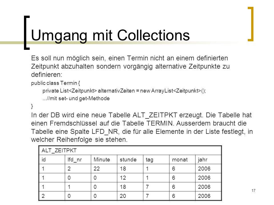 Umgang mit Collections