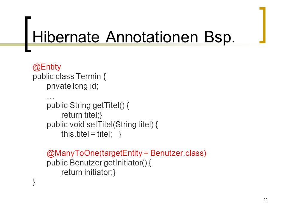 Hibernate Annotationen Bsp.