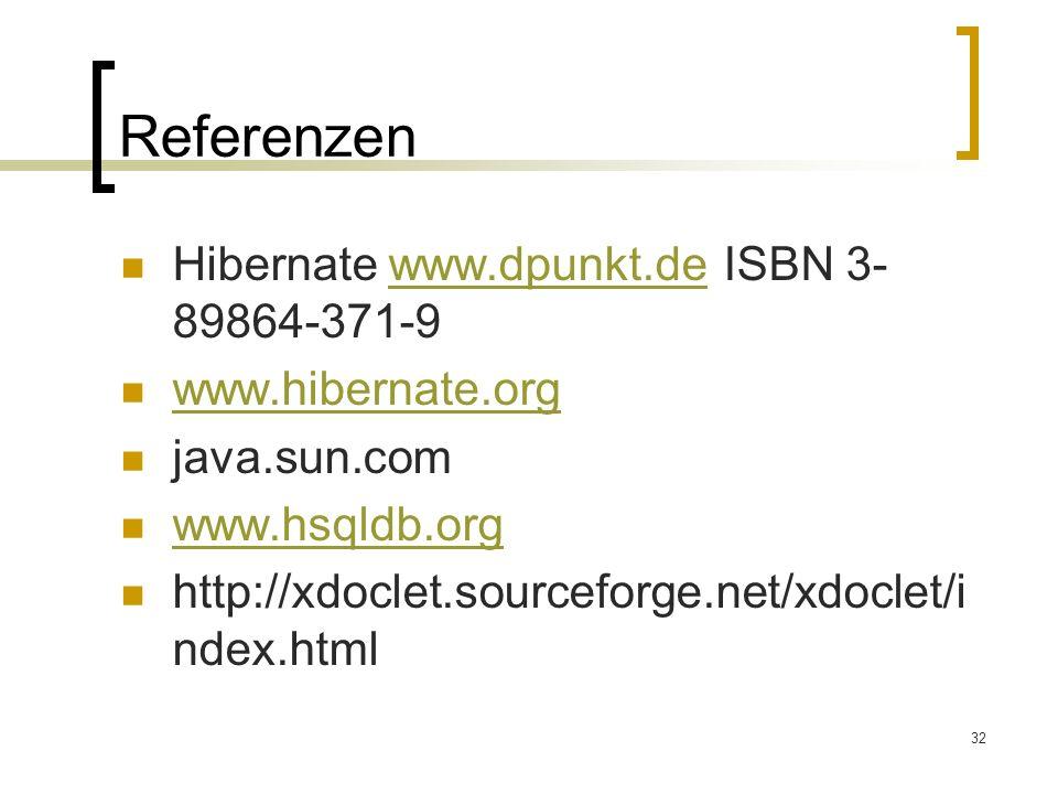 Referenzen Hibernate www.dpunkt.de ISBN 3-89864-371-9