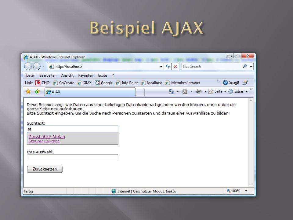 Beispiel AJAX Auf einer Webseite ist ein Knopf und dies
