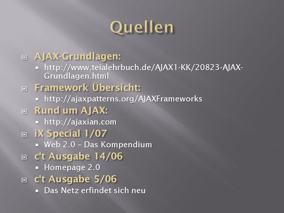 Quellen AJAX-Grundlagen: Framework Übersicht: Rund um AJAX: