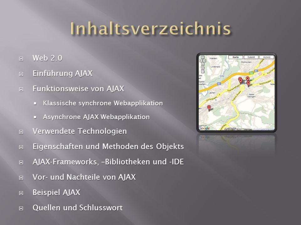 Inhaltsverzeichnis Web 2.0 Einführung AJAX Funktionsweise von AJAX