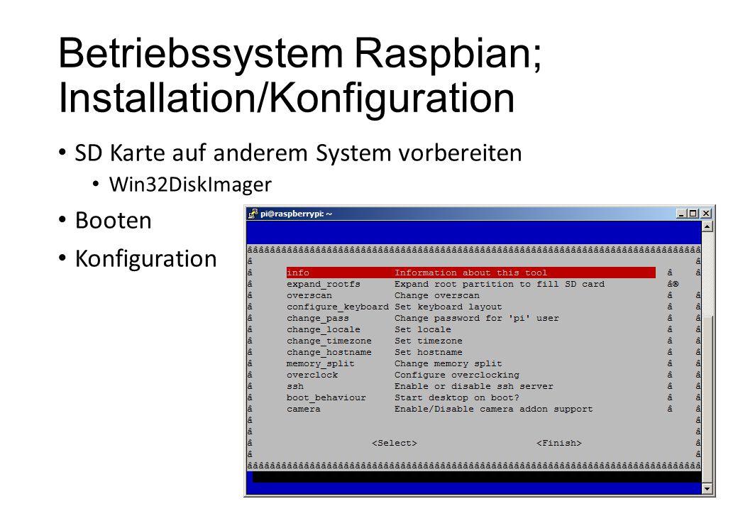Betriebssystem Raspbian; Installation/Konfiguration
