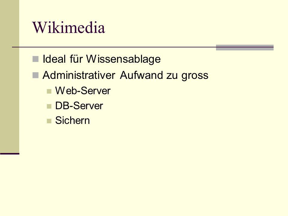 Wikimedia Ideal für Wissensablage Administrativer Aufwand zu gross