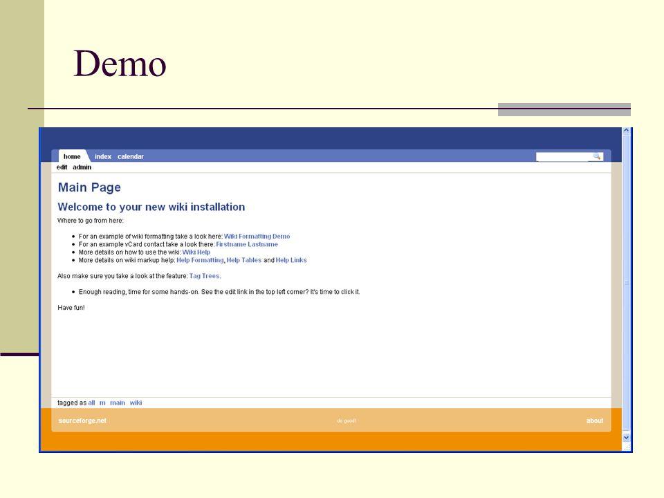 Demo Starten wiki Admin Edit Neue Seite erstellen Index