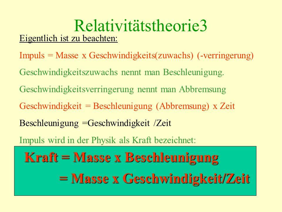 Relativitätstheorie3 Kraft = Masse x Beschleunigung