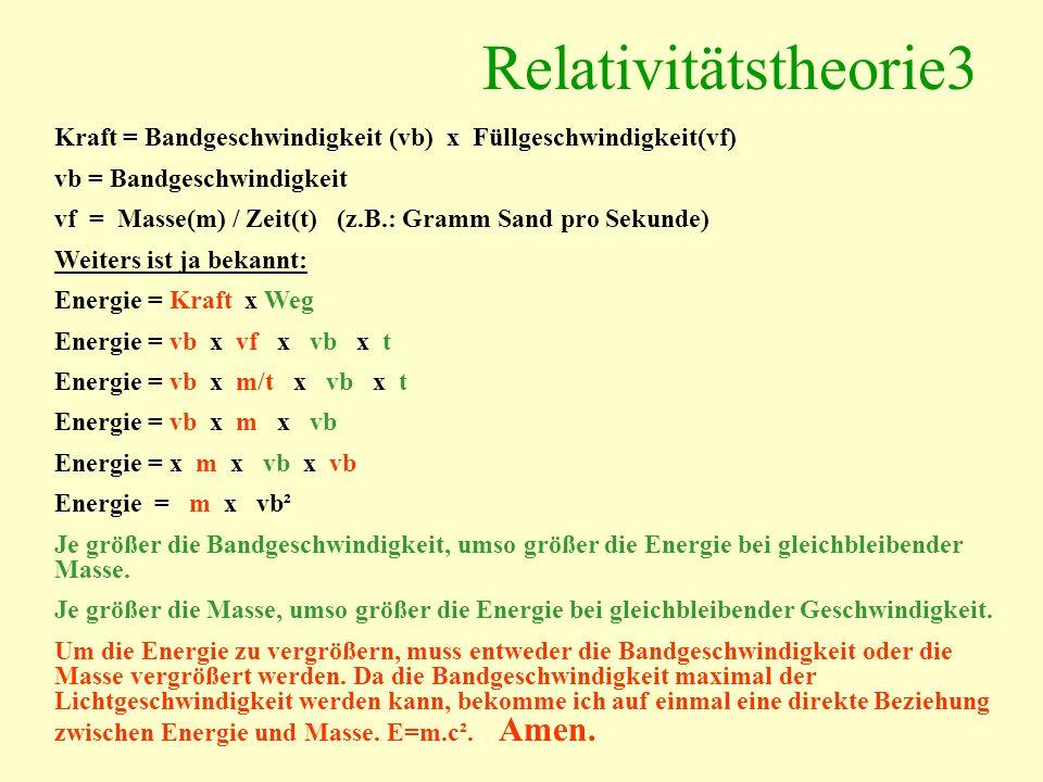 Relativitätstheorie3 Kraft = Bandgeschwindigkeit (vb) x Füllgeschwindigkeit(vf) vb = Bandgeschwindigkeit.