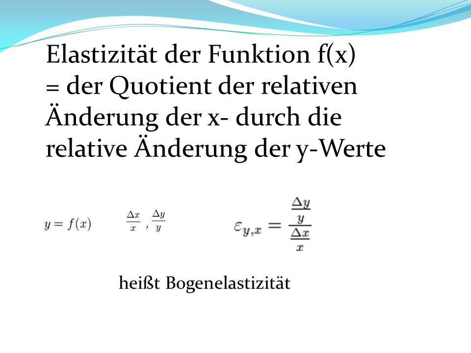 Elastizität der Funktion f(x)
