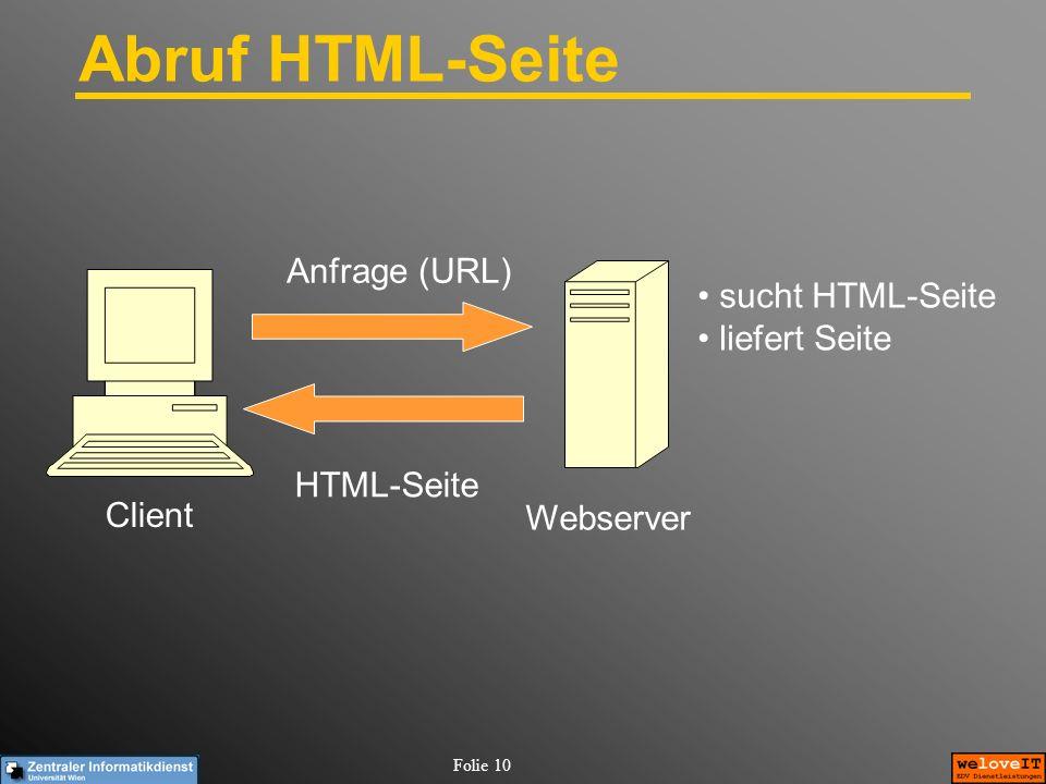 Abruf HTML-Seite Anfrage (URL) sucht HTML-Seite liefert Seite