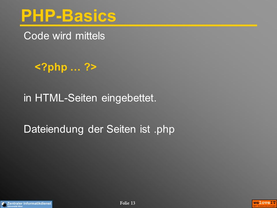 PHP-Basics Code wird mittels < php … >
