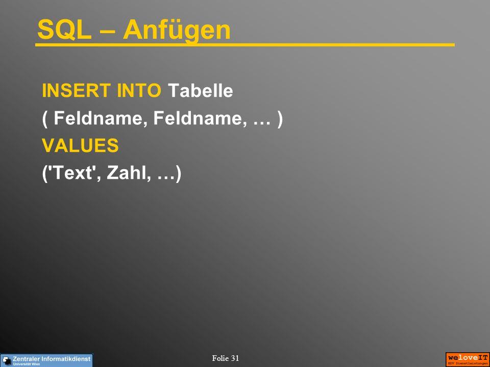 SQL – Anfügen INSERT INTO Tabelle ( Feldname, Feldname, … ) VALUES