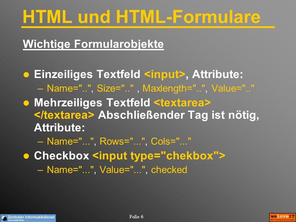 HTML und HTML-Formulare