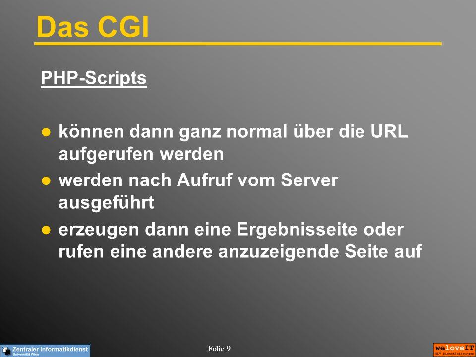 Das CGI PHP-Scripts. können dann ganz normal über die URL aufgerufen werden. werden nach Aufruf vom Server ausgeführt.