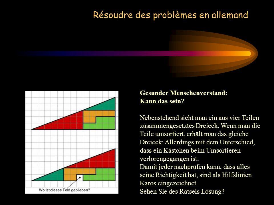 Résoudre des problèmes en allemand