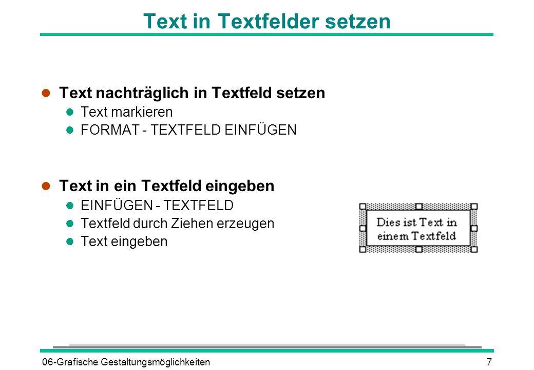 Text in Textfelder setzen