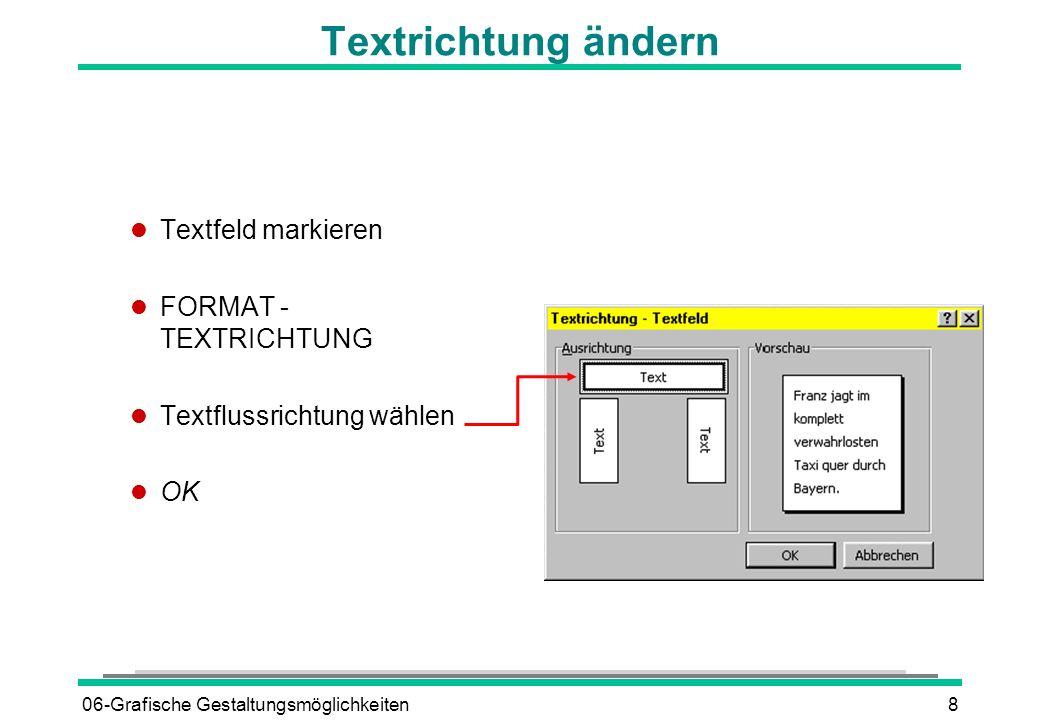 Textrichtung ändern Textfeld markieren FORMAT - TEXTRICHTUNG