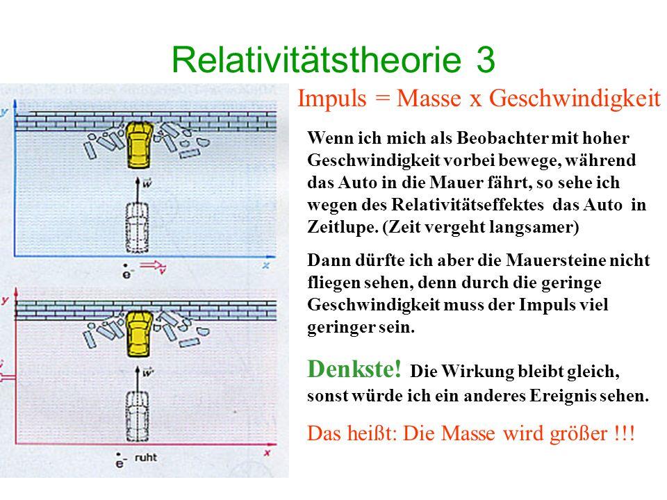 Relativitätstheorie 3 Impuls = Masse x Geschwindigkeit
