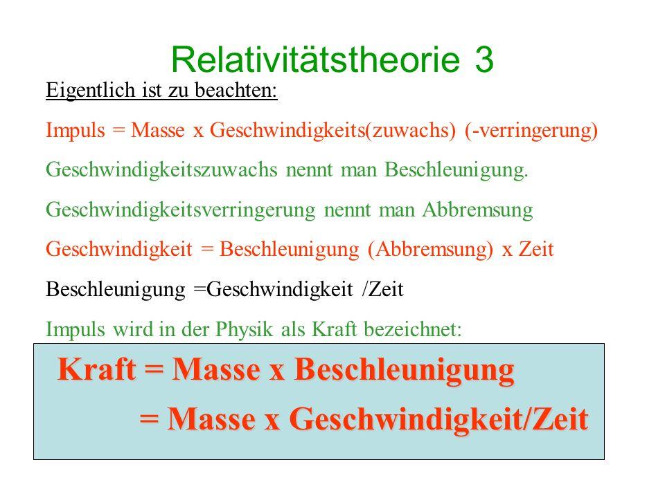 Relativitätstheorie 3 Kraft = Masse x Beschleunigung