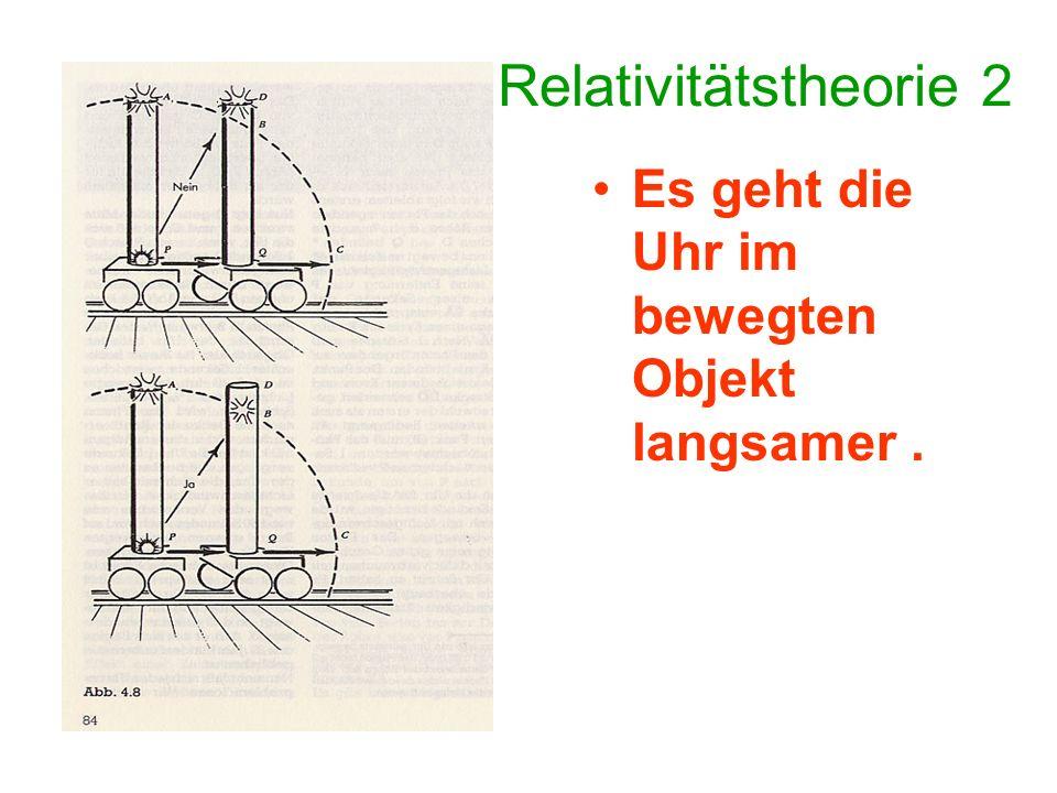 Relativitätstheorie 2 Es geht die Uhr im bewegten Objekt langsamer .