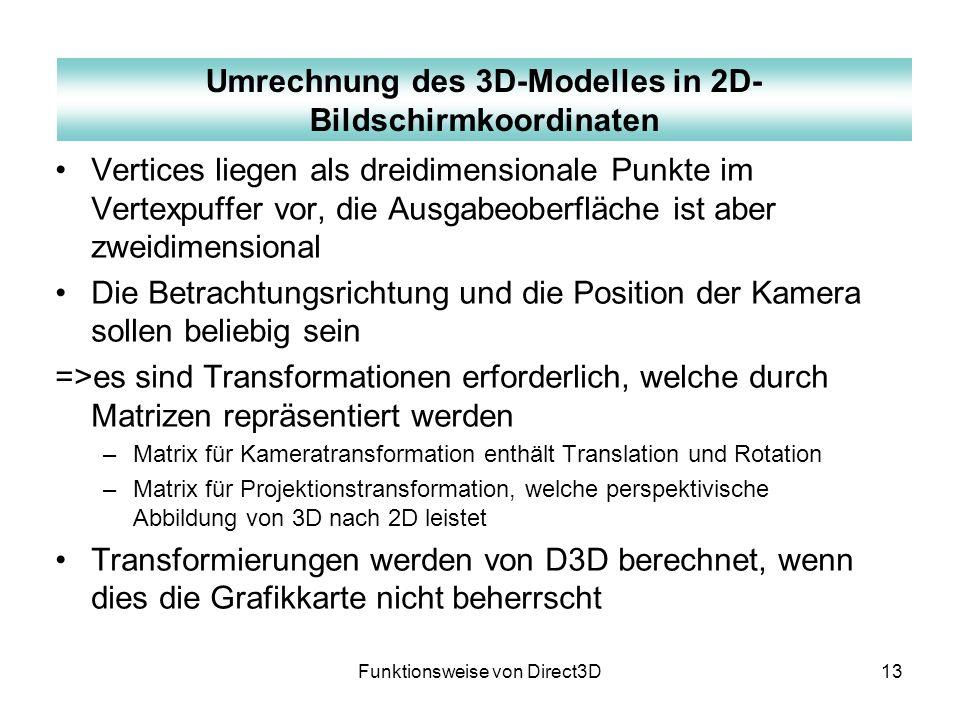 Umrechnung des 3D-Modelles in 2D-Bildschirmkoordinaten