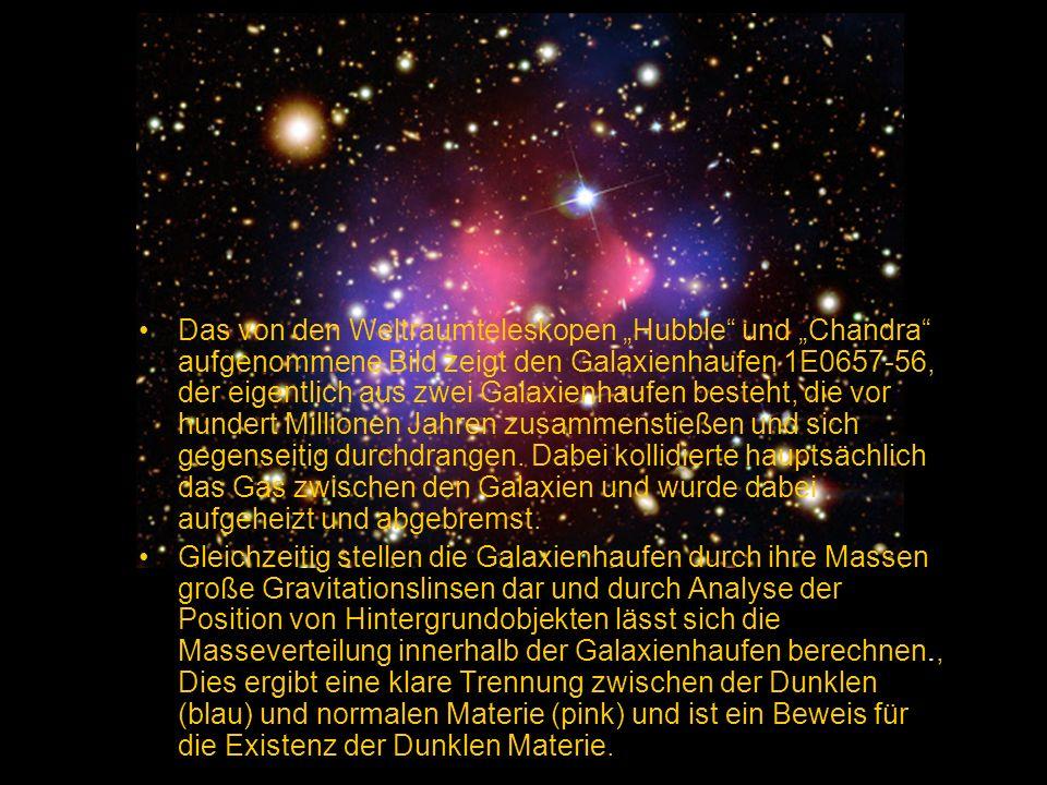 """Das von den Weltraumteleskopen """"Hubble und """"Chandra aufgenommene Bild zeigt den Galaxienhaufen 1E0657-56, der eigentlich aus zwei Galaxienhaufen besteht, die vor hundert Millionen Jahren zusammenstießen und sich gegenseitig durchdrangen. Dabei kollidierte hauptsächlich das Gas zwischen den Galaxien und wurde dabei aufgeheizt und abgebremst."""