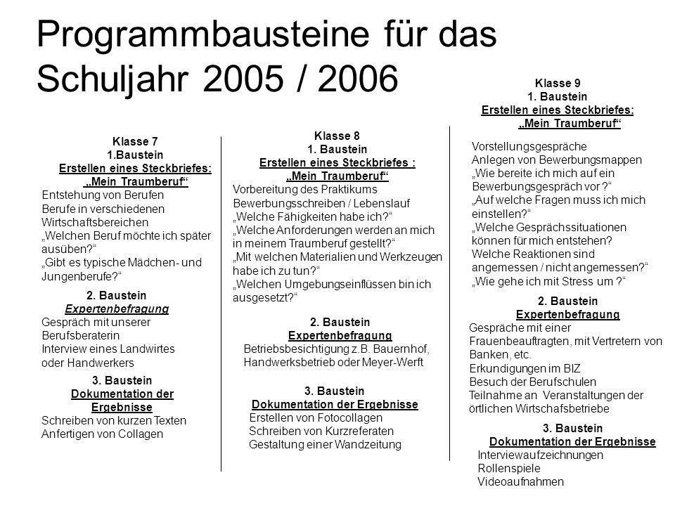 Programmbausteine für das Schuljahr 2005 / 2006