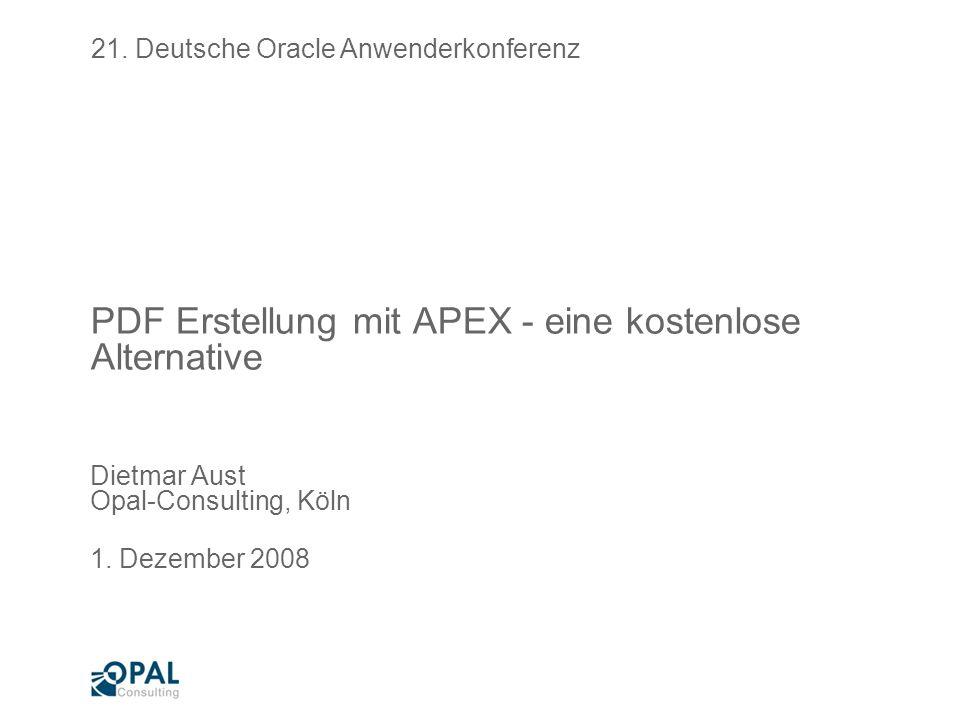 PDF Erstellung mit APEX