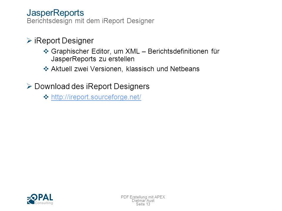 JasperReports Berichtsdesign mit dem iReport Designer