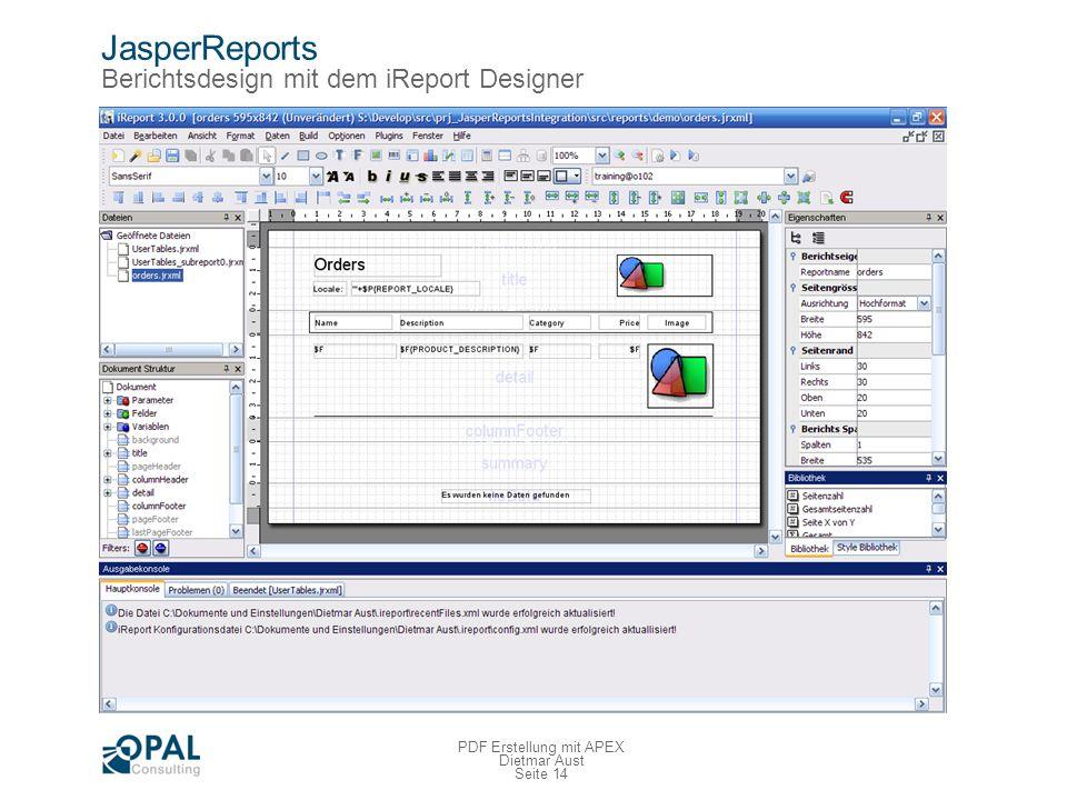 JasperReports Berichtsdesign mit dem Report Designer